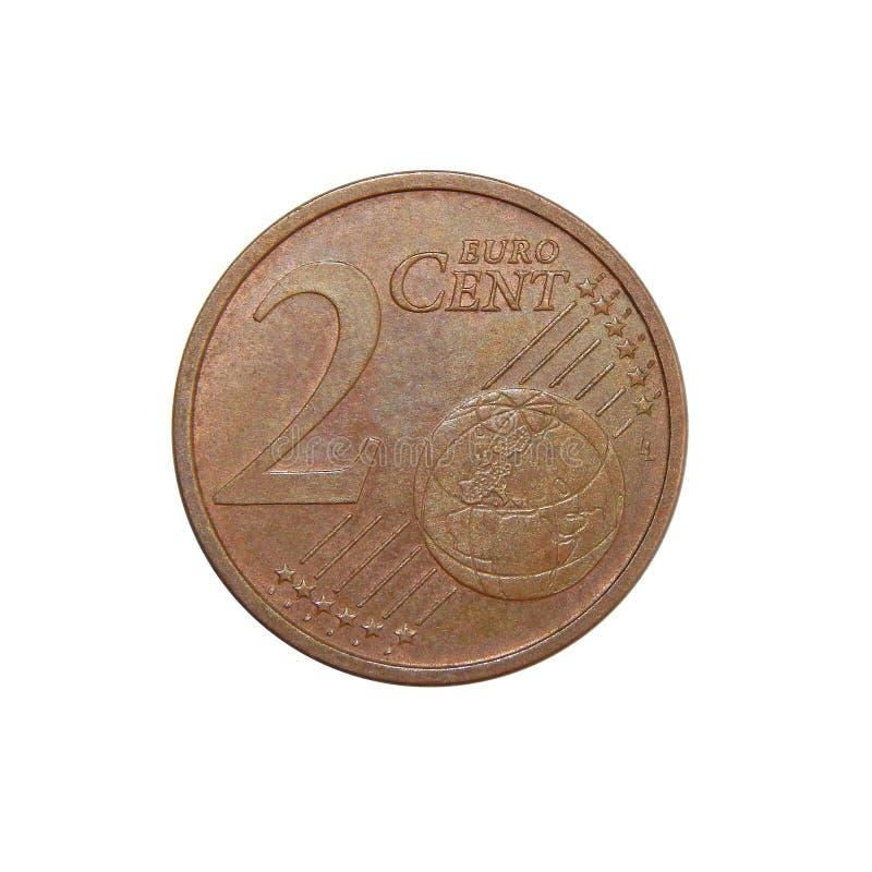 Euro centesimi della moneta 2 fotografia stock