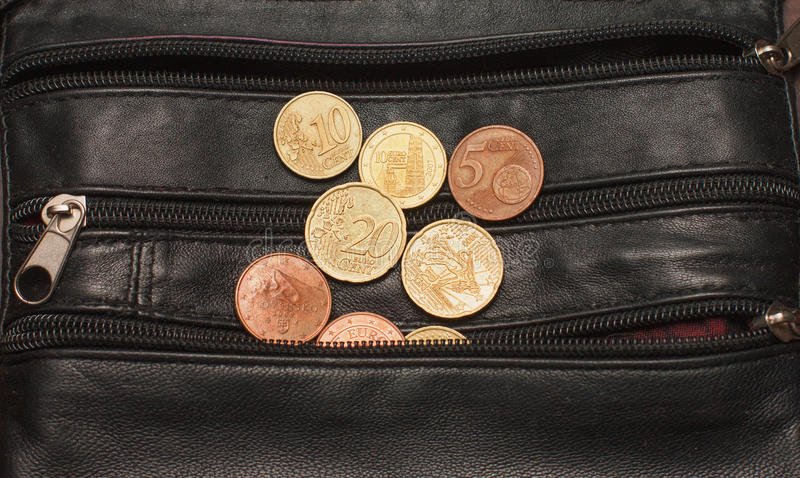 Euro cents a black purse, currency, money,. Small royalty free stock photography