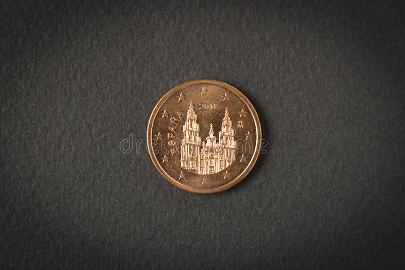 5 euro cents coin on black background. Close up royalty free stock photography