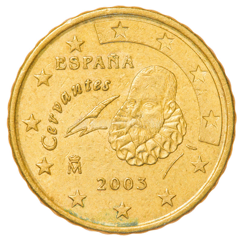 10 euro cents coin - spain. Isolated on white background stock image