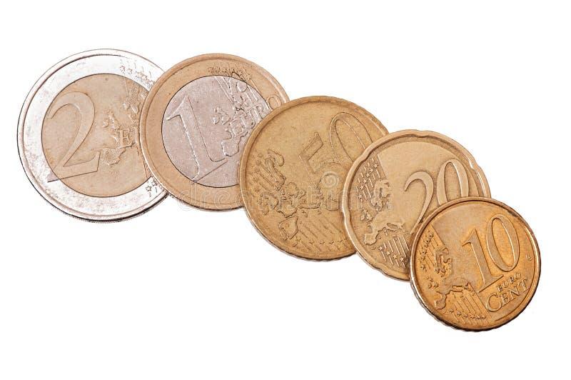 Euro cents. Isolated on white background stock photo