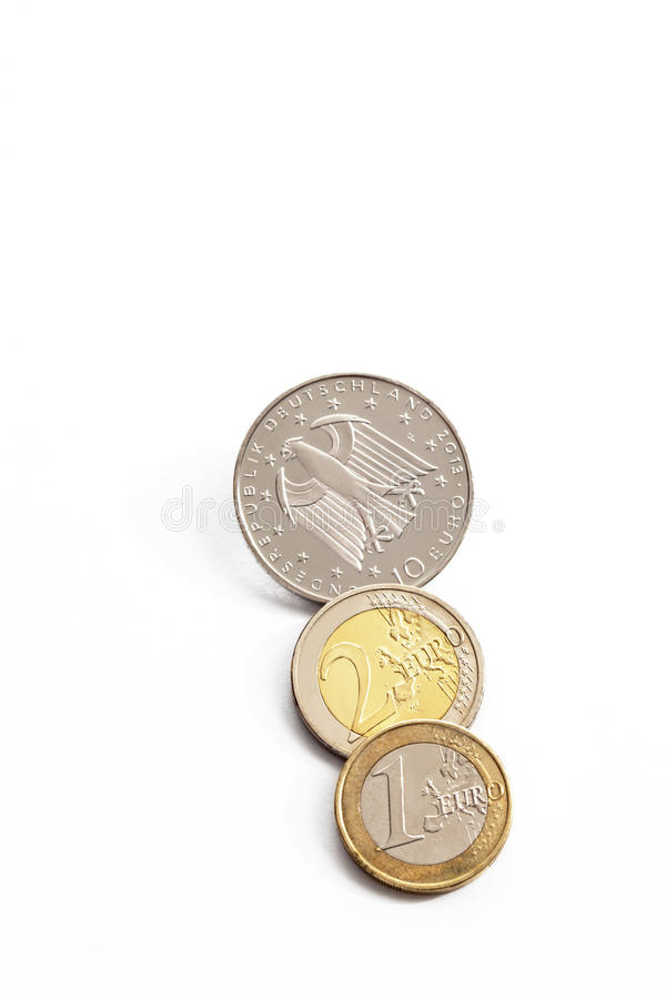 Euro cents on white background elevated view royalty free stock images