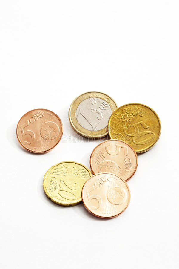 Euro cents on white background elevated view royalty free stock photo