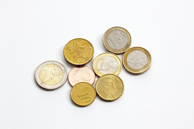 Euro cents on white background elevated view stock photography