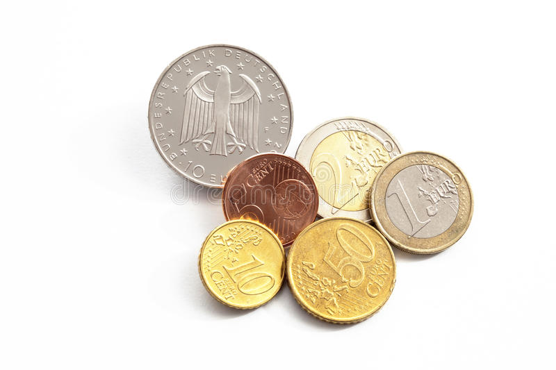 Euro cents on white background elevated view stock photo