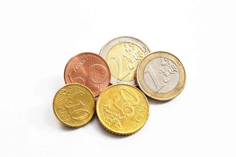 Euro cents on white background elevated view royalty free stock photos