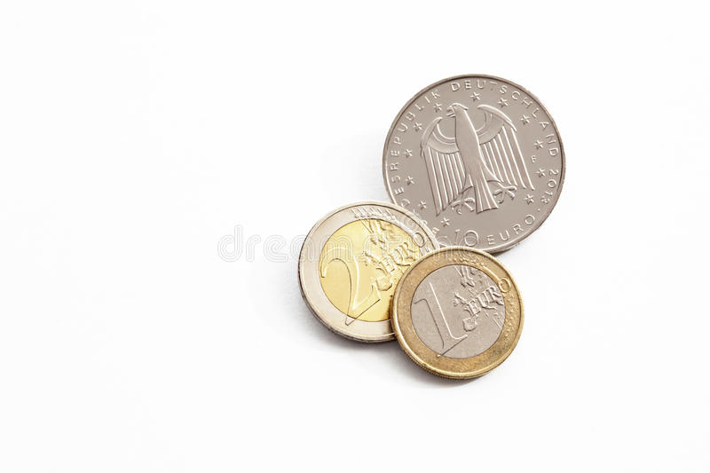 Euro cents on white background elevated view stock photos