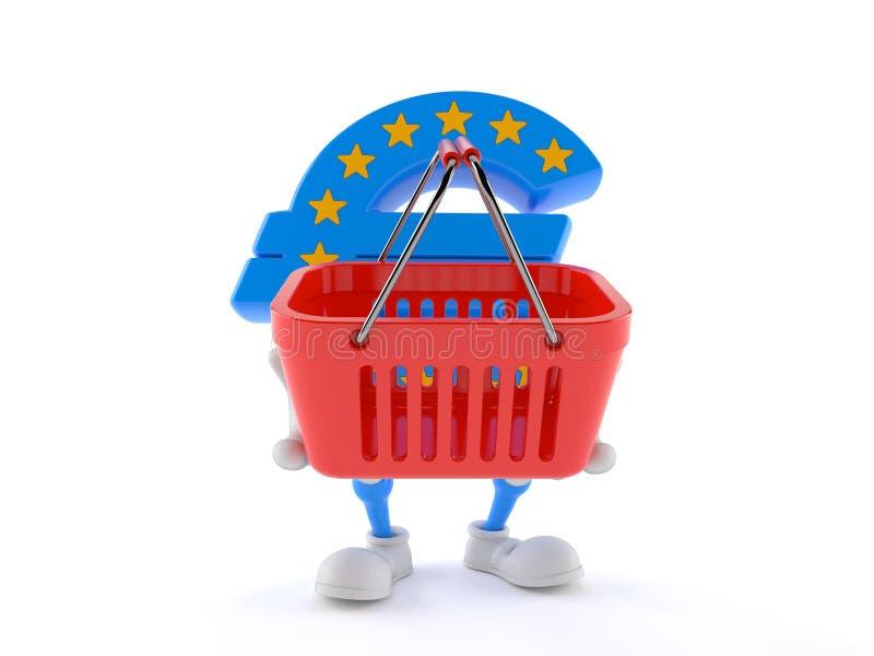 Euro cestino della spesa della tenuta del carattere di valuta illustrazione vettoriale