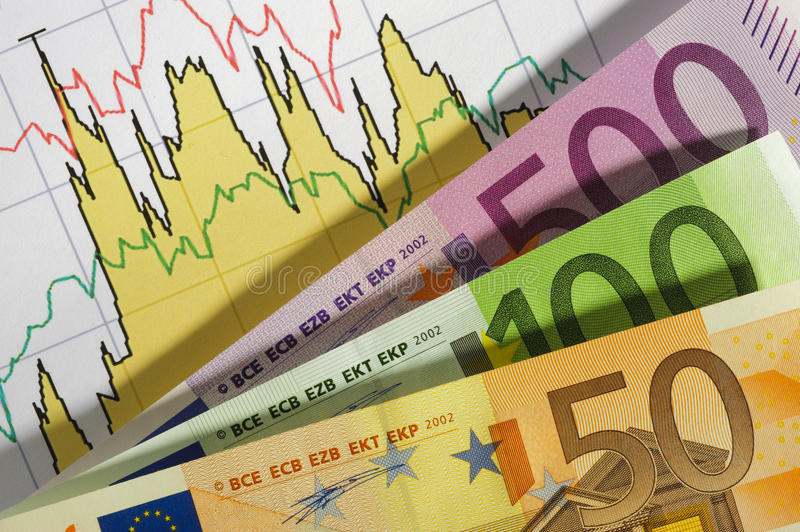 Euro and chart. Finance stock chart with euro currency royalty free stock photos