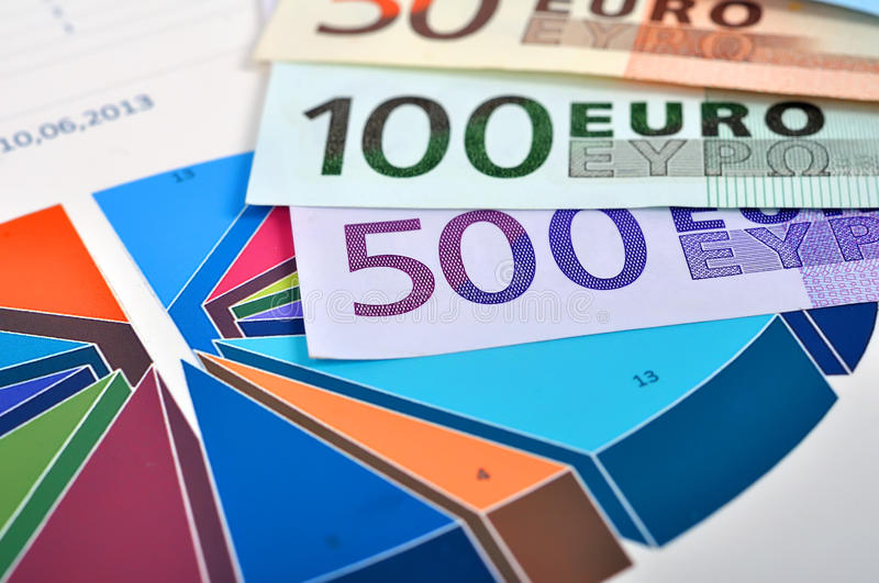 Euro and chart. Euro banknotes and color pie chart, close up stock image