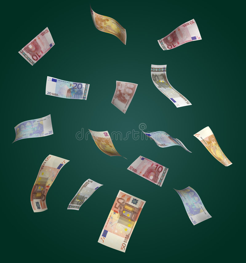 Euro che cadono da sopra immagini stock libere da diritti