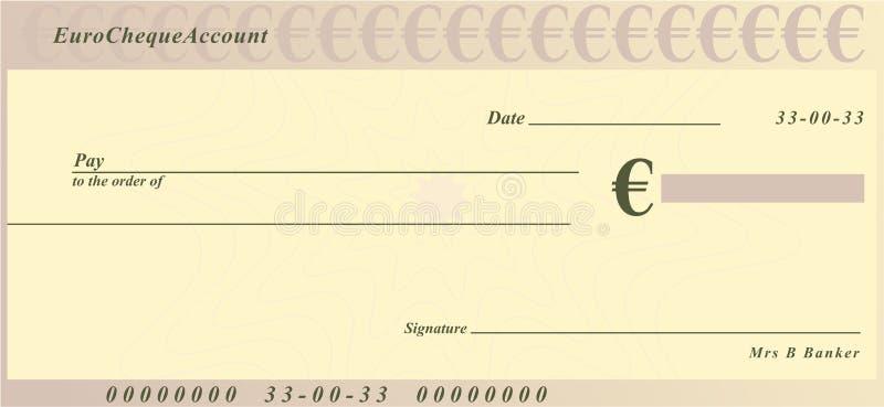 Euro cheque stock illustratie