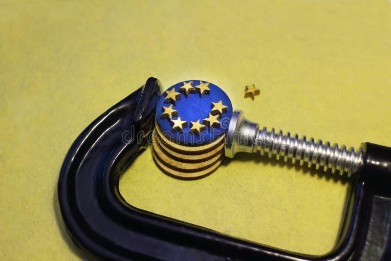 Euro ciśnieniowy kryzys Europejski zjednoczenie obraz stock