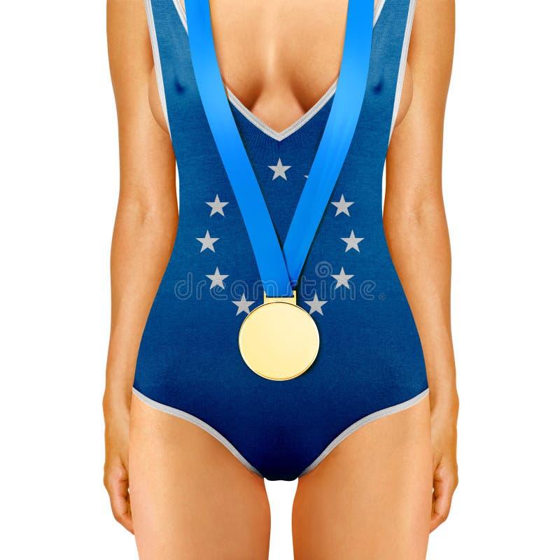 Euro ciało z medalem obraz stock