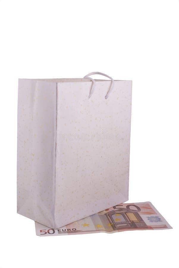 euro cinquante de sac dessous photographie stock