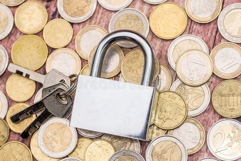 Euro cion and padlock. money save concept.  stock image