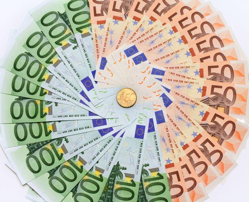 Euro- close up das notas de banco imagem de stock royalty free