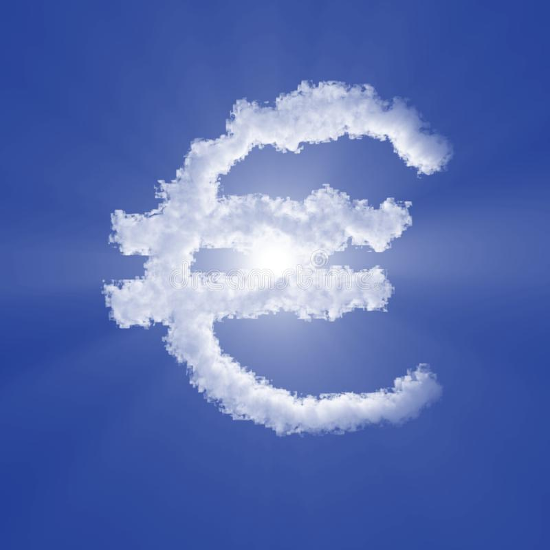 Euro cloud sign with volume light on blue sky and sun. Realistic 3d illustration vector illustration
