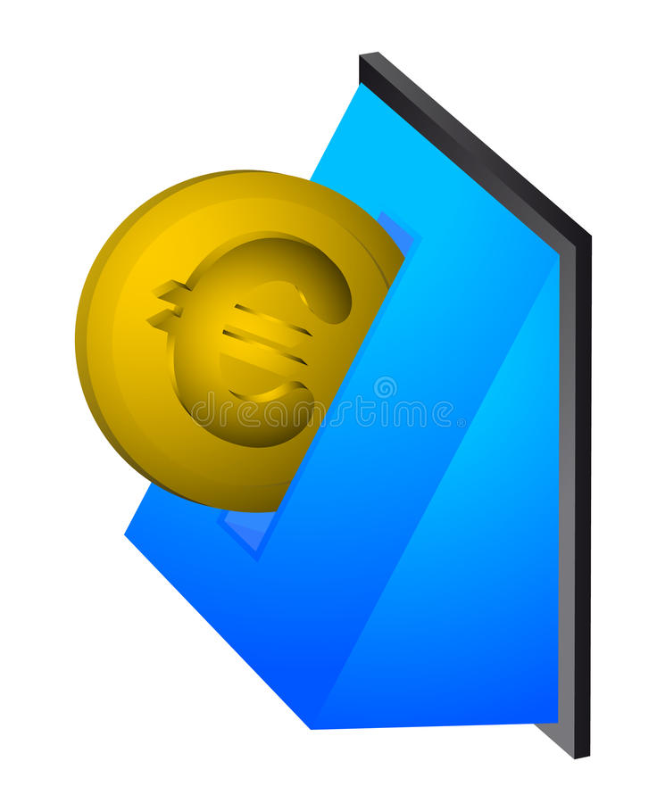Download Euro coin stock vector. Image of slot, money, insert - 21092807