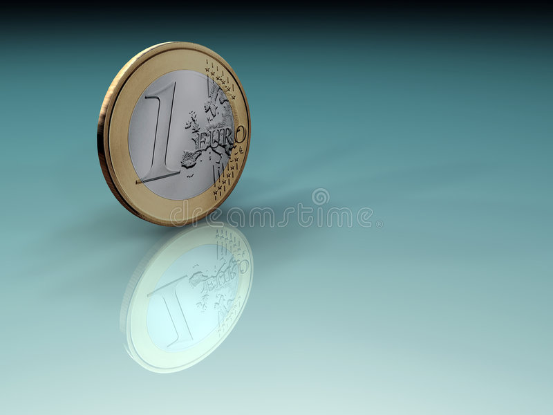 Euro coin. One euro coin on green, reflective surface