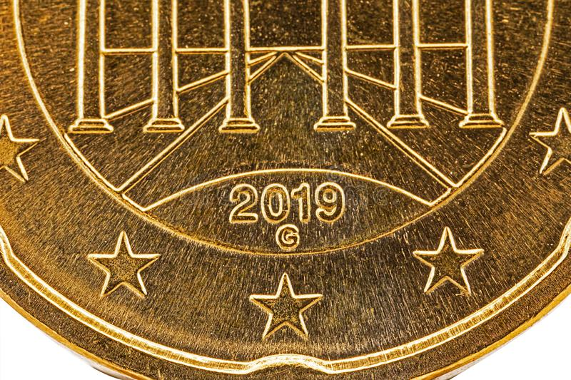 Euro coin 2019 G with stars and partially visible Brandenburger Tor royalty free stock photography