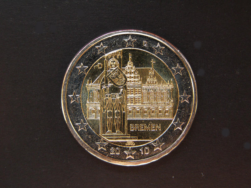Euro coin with Bremen townhall on it royalty free stock image
