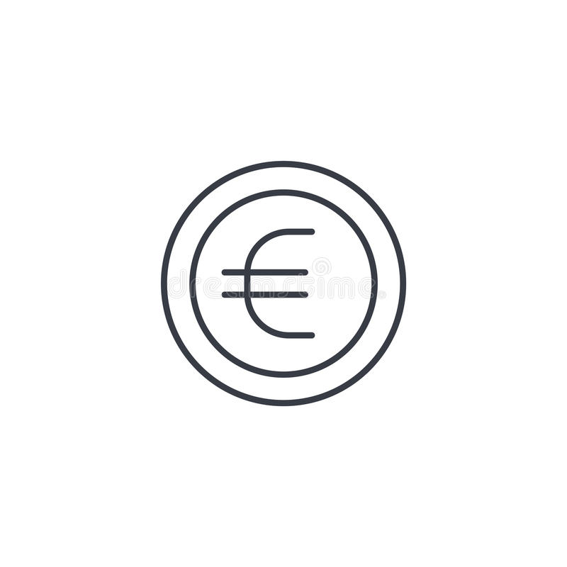 Euro coin, currency thin line icon. Linear vector symbol royalty free illustration