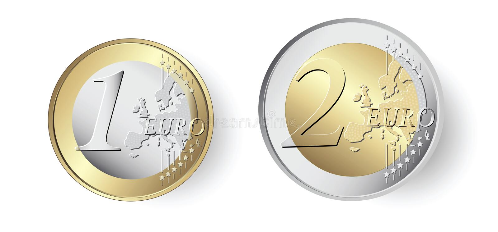 1 and 2 Euro coin royalty free stock photography