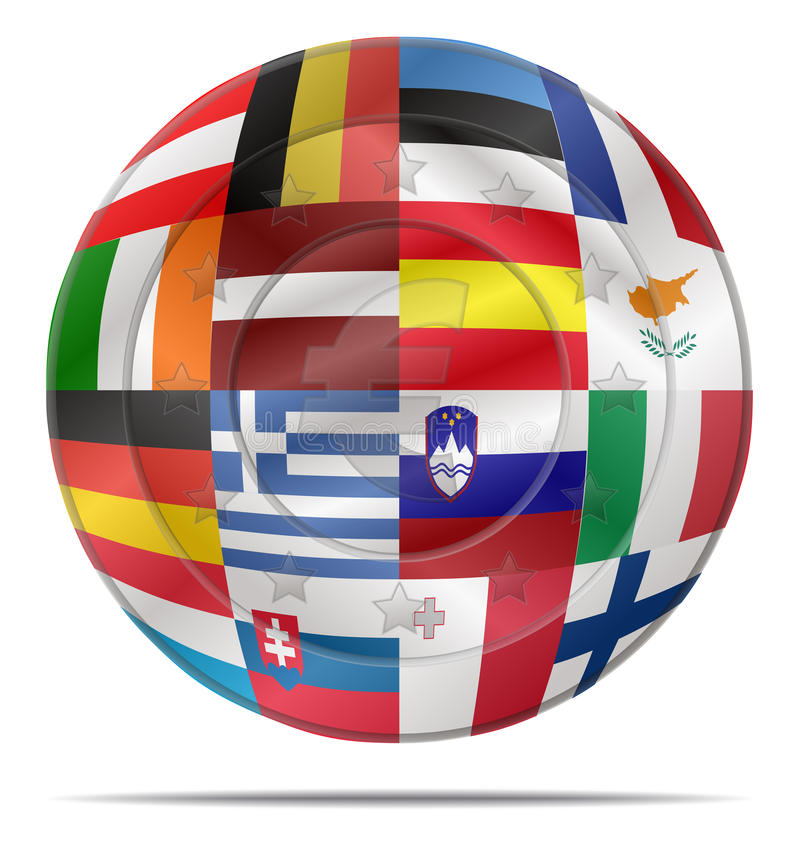 Euro coin with flags. Design of a euro coin with flags stock illustration