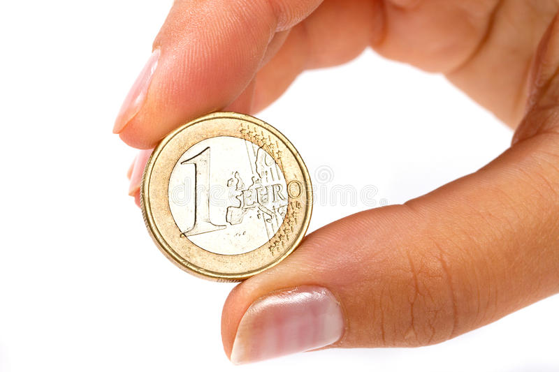Download Euro coin in hand stock image. Image of macro, money - 21547931