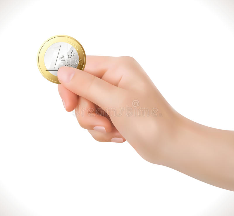 Euro coin in hand - business stock photography