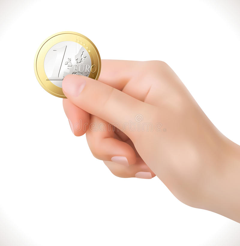 Euro coin in hand - business stock photo