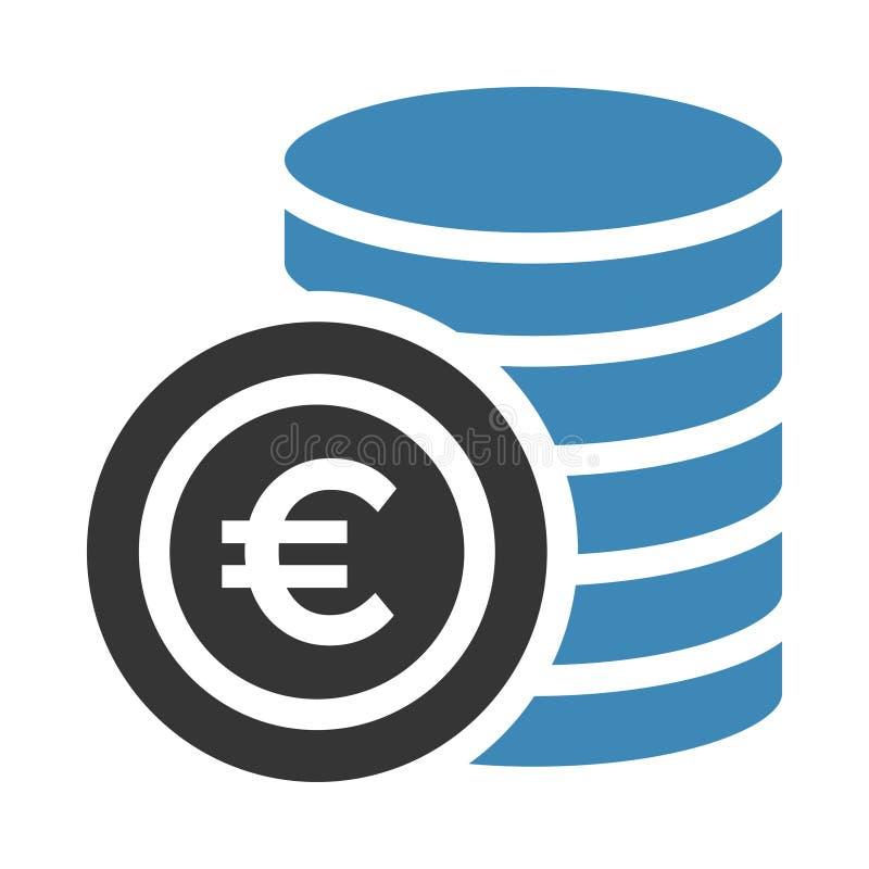 Euro coin icon stock illustration