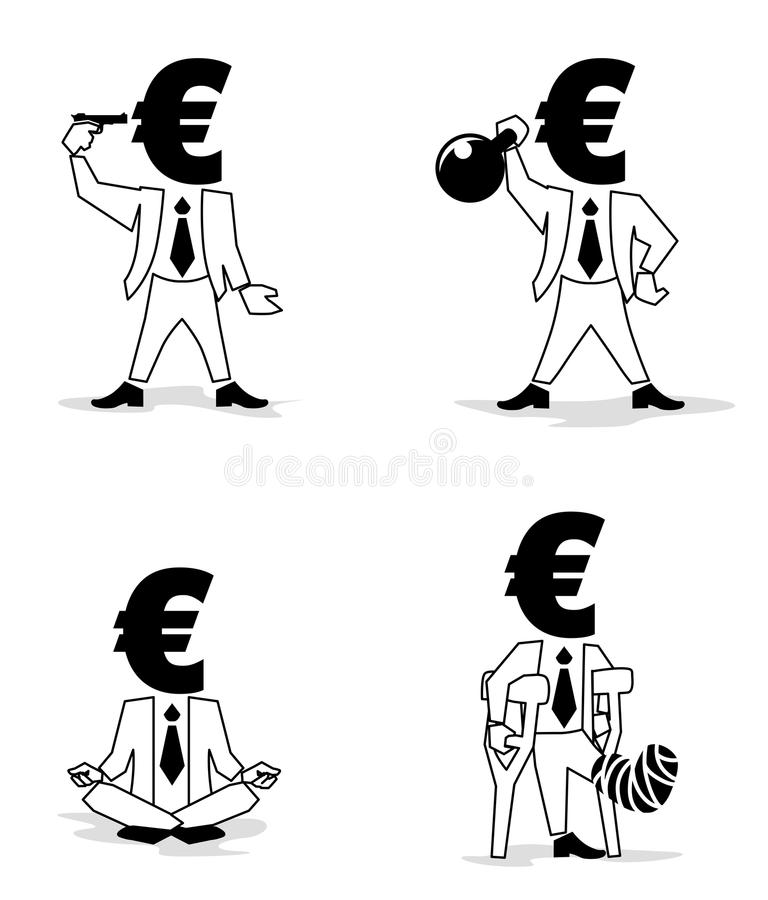 Euro Coin-Man in different situation royalty free illustration