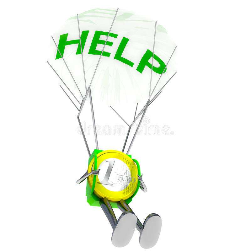Euro Coin Paratrooper Bring Help Illustration Royalty Free Stock Photography
