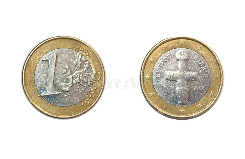 1 euro coin. Photo 1 euro coin, on white background, with the two sides stock images