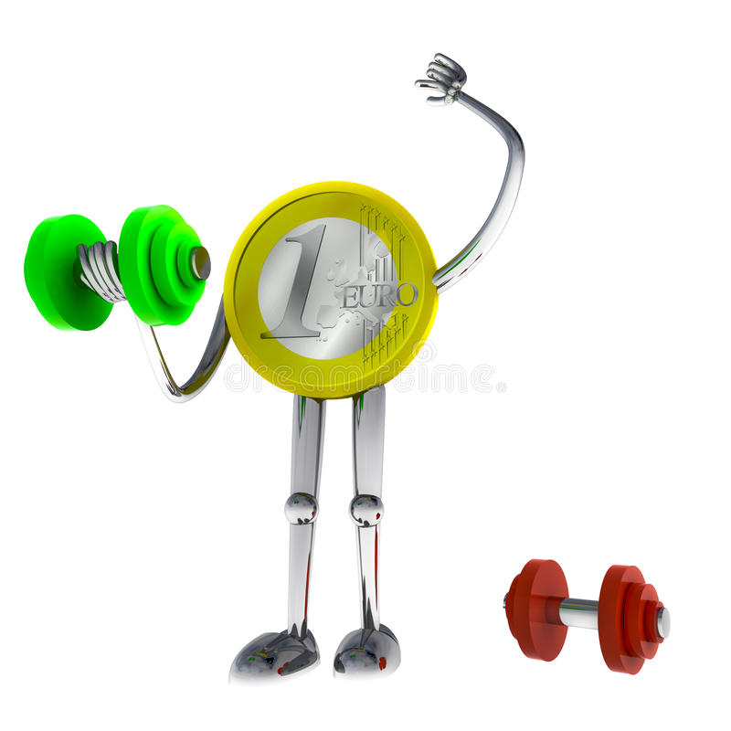 Euro coin robot heave his dimbbell illustration. Render vector illustration