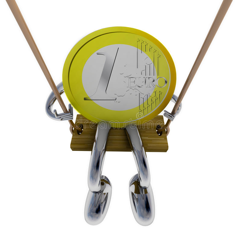Euro coin robot swinging on a swing top view illustration vector illustration