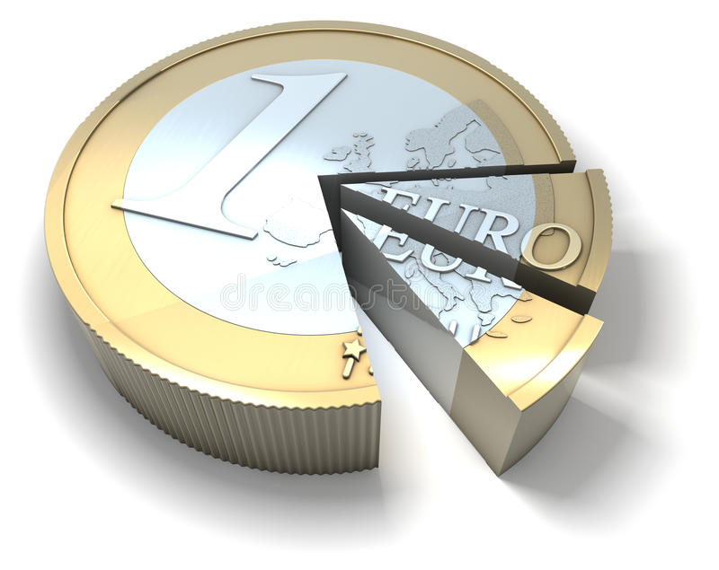 Euro coin sliced, slice of the pie. Illustration, rendering on white background royalty free illustration