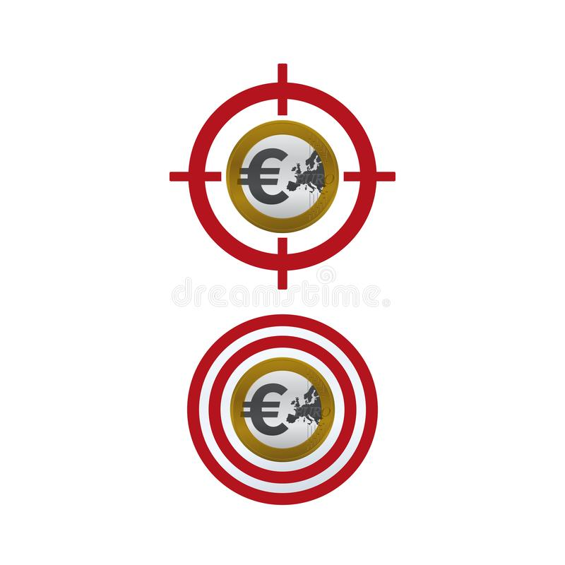 Euro coin on target. Target boards and euro symbols on white background. Financial concept design stock illustration