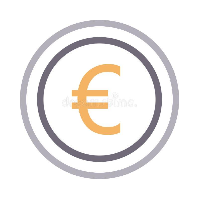 Euro coin thin color line vector icon stock illustration