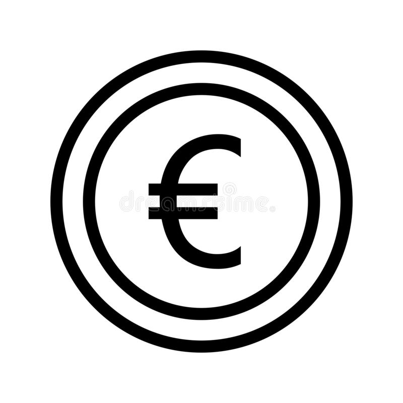 Euro coin vector line icon royalty free illustration