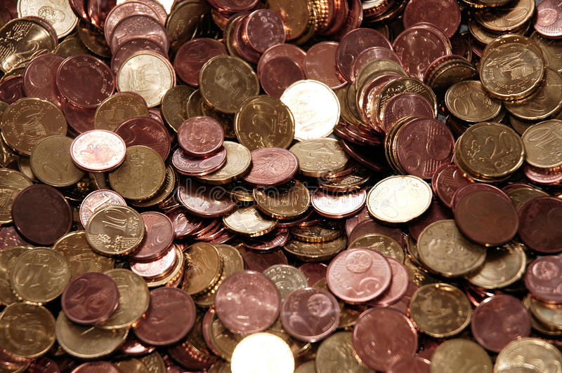 Euro coins - 10, 20, 5, 2 and 1 cents. Euro coins, mostly with Cypriot reverse, scattered stock photo
