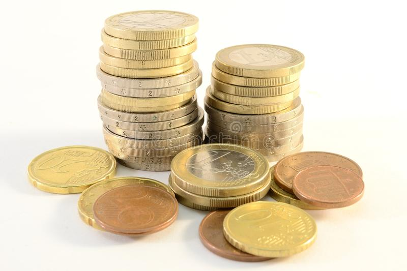 Euro coins. Pile of euro coins isolated on white background royalty free stock photography