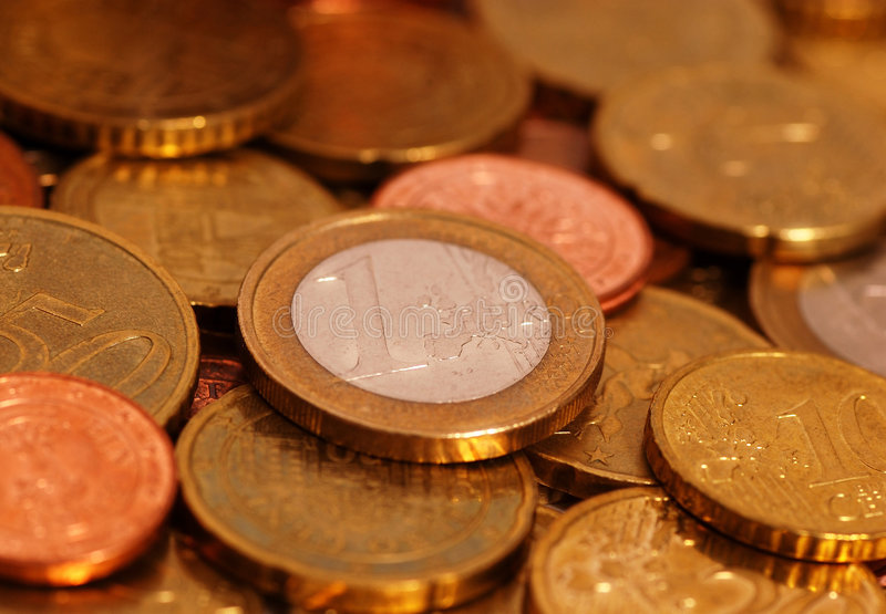 Euro coins. 1 Euro, 50 cents, 20 cents, 10 cents and 5 cents royalty free stock photo