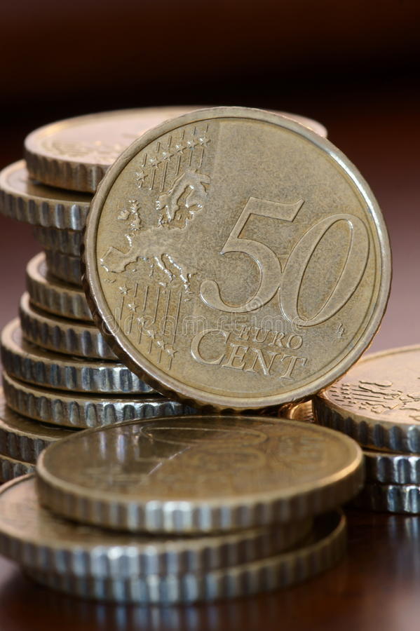 Euro coins. Stack of 50 cents euro coins royalty free stock images