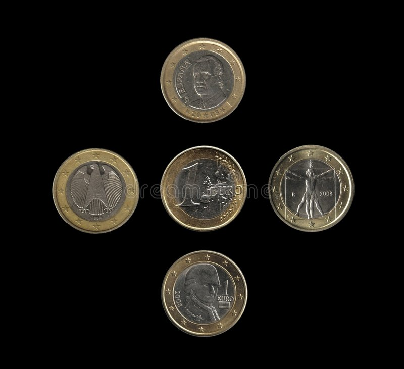 Euro coins, 4 nations stock photo