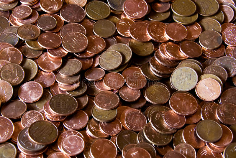 Euro coins. Close up of euro coins for background use royalty free stock images