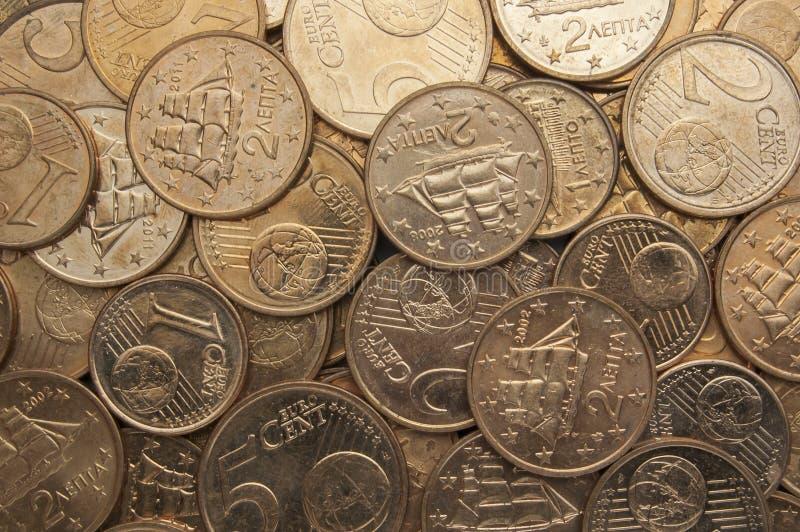 Euro coins background. Close Up Of Euros Coins royalty free stock photos
