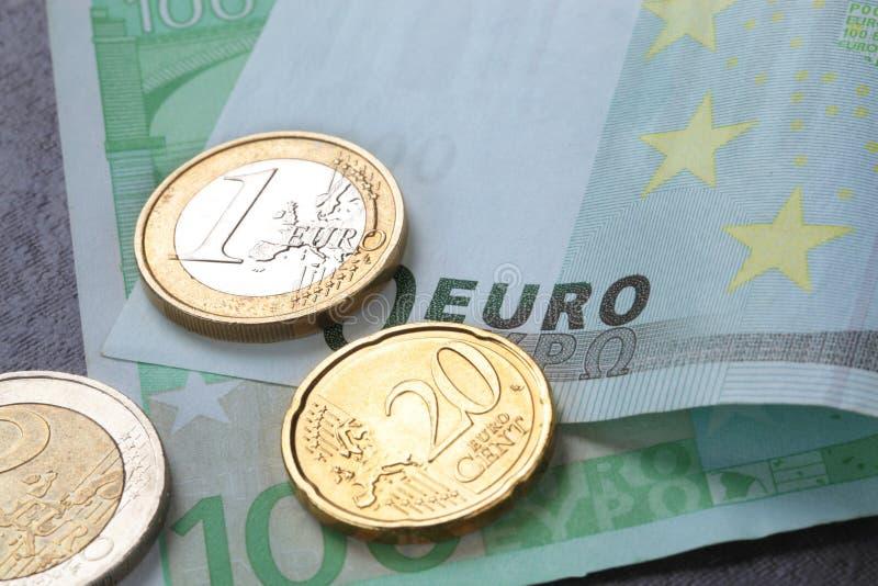 Euro coins and banknotes. Euro coins and bank notes stock photo
